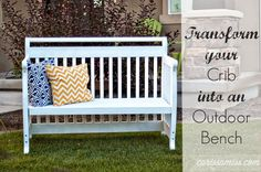Crib to bench tutorial #DIY #paintedfurniture #repurpose #upcycle - www.countrychicpaint.com/blog