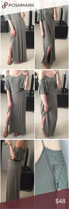 """LAST 2▫Sage Boho Cold Shoulder Maxi Dress w/ Slit Gorgeous sage maxi (or midi for the taller ladies) dress with cold shoulder and slit on one side. So boho chic! Thick ribbed design and so soft and VERY stretchy! Belt or wear loose. Feels great on! In love with everything about this! Perfect for transitioning into spring! Modeling small. I'm 5'4"""" in wedges. 95% rayon 5% spandex. Made in USA. Measurements as follows: Bust: (S) 16"""" (M) 17"""" (L) 18"""" Length: 54"""" *Bundle 2+ items for a discount…"""