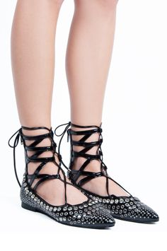 Jeffrey Campbell Shoes REZA-STUD New Arrivals in Black Patent Silver  Studded Flats 640b3c9b106