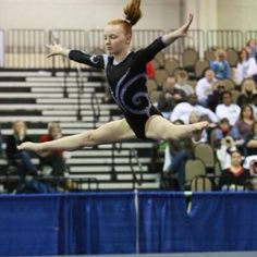 My daughter, Ashtyn, doing a straddle jump after her leap pass. April 2009 Gymnastics meet