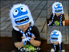 This item is made to order. ***************************** This listing is for Crochet hat Bumble the Abominable Snow Monster This adorable hat can be made in any size.  Please specify size when ordering!  Sizes  16 - 18 (6 month-12 month) 18- 19.5(12-month old) 19.5-20(2-4 y.old) 20 -20,5(4-6 y.old) 20.5-21 (6-8 y.old) 21 (8-10y.old) 10-15y.old  Teen-Adult Please provide a head measurement. Thank you for stooping by:)  Like my Facebook page KrazyHats…
