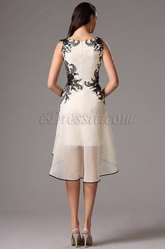 Sleeveless Black Lace Applique Cocktail Dress Party Dress (04160800)