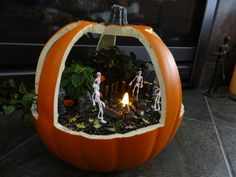 My favorite Halloween garden!!  Made from a craft pumpkin. Got this idea from another pinner and made it my own.