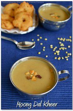 Moong Dal Kheer - with coconut milk Fried Fish Recipes, Veg Recipes, Indian Food Recipes, Sweet Recipes, Yummy Recipes, Indian Desserts, Indian Sweets, Sweet Desserts, Coconut Milk Recipes