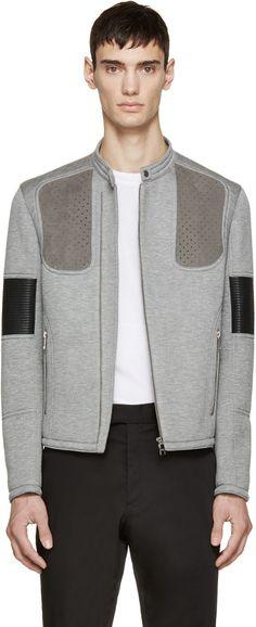 Neil Barrett Grey Neoprene Biker Jacket