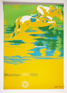 Horse racing poster designed by Otl Aicher for 1972 Munich Olympics. poster size: A1, price: £145.00. Collection of Otl Aicher's posters designs at jozefsquare.com #VintagePosters #PosterDesign #OtlAicher #SportsPosters #Art #70sPosters