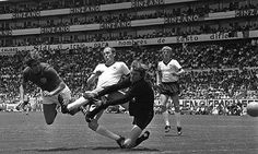 England's Geoff Hurst dives to head past the Germany goalkeeper, Sepp Maier during their World Cup quarter-final in June 1970. Photograph: Popperfoto/Getty Images