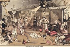 RELIGION CARTOON, 1879. 'The Religious Vanity Fair': American lithograph cartoon by Joseph Keppler, 1879, satirizing the variety of religious organizations seeking to enlarge their membership, each claiming to be the one true faith; at lower left, Puck advocates 'clean hands and a pure heart' as the best route to salvation.