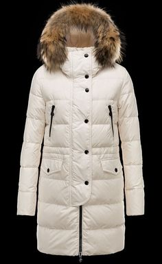 a85b49ff16fa Cheap Moncler FRAGON Women Coats Long Ivory With Fur Collar Sale Manteau  Moncler, Jacken Sale