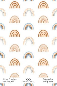 This cute boho rainbow wallpaper pattern is a beautiful and bold way to decorate your nursery walls or children's room. Ideal for a retro wall decor style and bohemian appeal. The best part about this wallpaper is that it's fully removable! Childrens Wall Murals, Nursery Wall Murals, Wallpaper Designs, Pattern Wallpaper, Coffee Theme Kitchen, Special Wallpaper, Removable Wall Murals, Rainbow Wallpaper, Room Wallpaper