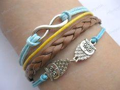 Bracelet-infinity bracelet,lover owls bracelet,braid leather bracelet-Z033. $8.50, via Etsy.