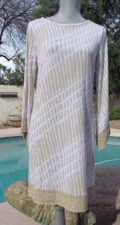 NWT MICHAEL KORS CHINO BEIGE GEOMETRIC SHEATH DRESS w/CROCHET TRIM $150.00