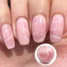 Rose quartz marble gemstone nails nail art