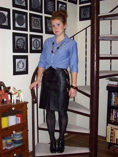 chambray shirt, black leather skirt