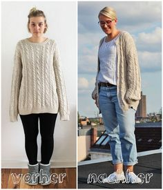 Refashion: Super-Comfy Cardigan pullover recycle diy - Best of PIC Thrift Store Refashion, Diy Clothes Refashion, Sweater Refashion, Thrift Store Diy Clothes, Refashioning Clothes, Refashion Dress, Altering Clothes, Oversized Cardigan, Men Cardigan