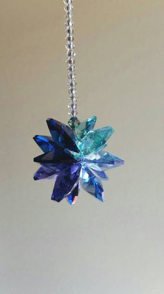 Blue car decoration, hanging crystal ornament, crystal sunburst for rear view mirror, purple and gre Jewelry Accessories, Unique Jewelry, Jewelry Ideas, Ocean Colors, Hanging Crystals, Car Mirror, Suncatchers, Swarovski Crystals, Purple