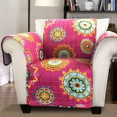 chair arm covers pattern patio with ottoman underneath 7 best images sofa couch slipcovers instantly refresh your furniture and keep favorite pieces protected this colorful cover coverschair coversdiy
