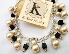 Beaded Charm Bracelet, Champagne Pearls, and Natural Stones, Cream, Black and Silver, Adjustable  B334
