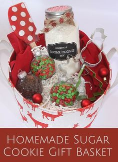 Homemade Sugar Cookie Gift Basket - Thrifty and Thriving - Here is a fun basket to gift to friends or family. Inside they will have every thing they need t - Christmas Baking Gifts, Diy Christmas Baskets, Christmas Cookies Gift, Christmas Jars, Homemade Christmas Gifts, Homemade Gifts, Holiday Gifts, Christmas Ideas, Merry Christmas