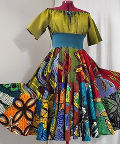 Summerside Swirl  Short Bright African Dress by BarefootModiste