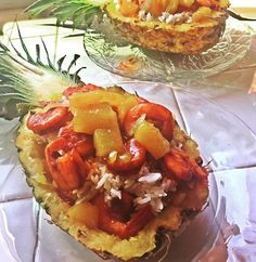 Sea food filled pineapple  with shrimp  and chipotle flavor