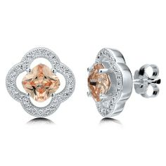Cushion Cut Champagne CZ 925 Sterling Silver Flower Stud Earrings from Berricle - Price: $46.99