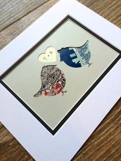 1 Year Wedding Gifts : Map Art- First Anniversary or Wedding Gift- Map Heart- One Year 1st ...