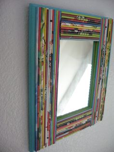 Mirror Framed with Recycled Magazines Colorful by amyleep16