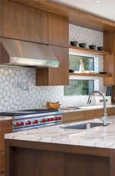 Mid century modern kitchen design ideas (30) // shelf in front of window