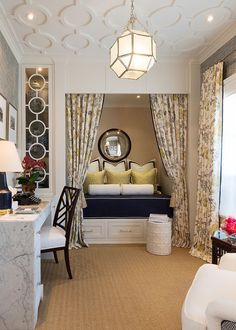 Traditional home office turned into a gorgeous guestroom [Design: Robert Frank / Carolyn Reyes Photography]
