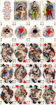 Le Florentin luxury playing cards with miniature paintings by Paul-Émile Bécat, published by Éditions Philibert, Paris, 1956