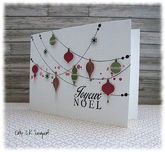 carte boules de noel accrochées Christmas Scrapbook, Christmas Cards To Make, Xmas Cards, Holiday Cards, Christmas Crafts, Fun Fold Cards, Diy Cards, Card Making Inspiration, Making Ideas