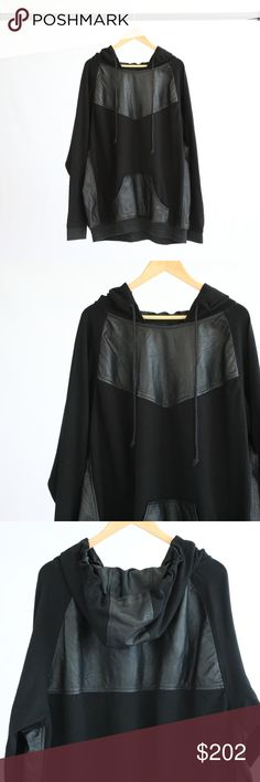 """Custom Black Leather Hoodie Custom black hoodie with genuine leather detail along chest, front pockets, upper back, and sides. Has drawstring hood. Some wear along the inner neckline. Waist is approx. 29"""",  Length is approx. 31"""" Custom Shirts Sweatshirts & Hoodies"""