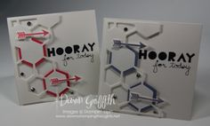 Hooray for you 4x4 cards- 2014 Hexagon Hive die