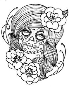 adult coloring pages punk girl 2 sugar skull girl tattootattoo - Sugar Skull Tattoo Coloring Pages