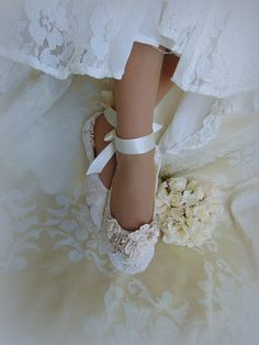 Lace Bridal Flat ShoeLace Bridal Shoe Lace by HopefullyRomantic