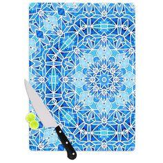 "Kess InHouse Art Love Passion ""Star Snowflake"" Blue Aqua Cutting Board (Large 11.5"" x 15.75""), Multi (Glass)"
