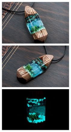 One-of-a-Kind Winter theme pendant, wood and resin microworld necklace. Featuring exotic wood, glow in the dark effect and the whole universe inside the Item, great cristmas gift.