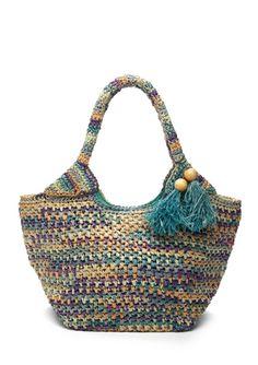 FLORA BELLA              Cozumel Multi-Crochet Raffia Tote