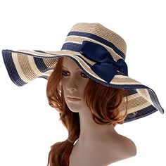 Vbiger Beach Hat Straw Hat Wide Brim Hat Bowknot Mixed-color Stripe Floppy Hats  Mens 2699e3be9aac