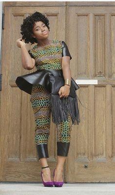 African prints on leather and purple heels. #heels #AfricanPrints #MadeInNigeriaShoeExpo