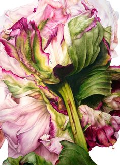 Peony watercolor. A series of such paintings would look amazing on white walls!