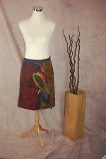 PRADA Parrot Skirt 40 Raw Edge Applique Spring 2005 Iconic Maroon Silk