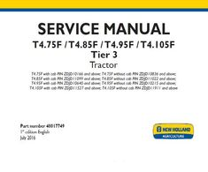 New Holland T4 75f T4 85f T4 95f T4 105f Tier 3 Tractor Service Repair Manual Service Repair Manuals Pdf New Holland Repair Manuals Tractors