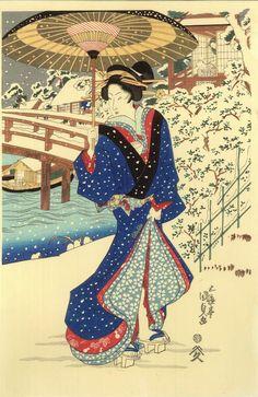 Woodblock print (reprint) - Utagawa Kunisada - Evening Snow at Mokuboji - ca. Art Geisha, Geisha Kunst, Sakura Painting, Japan Painting, Japan Illustration, Chinese Painting, Chinese Art, Yuki Onna, Art Occidental