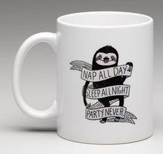 NAP ALL DAY SLEEP ALL NIGHT PARTY NEVER Sloth 11 oz. Coffee Mug Tea Cup Gift