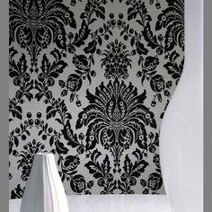 Elizabeth Black and White Faux Flocked retro modern damask wallpaper: GB17153E | Graham  Brown: Super Fresco Flock Effect Wallpaper Book