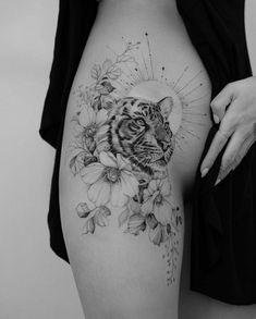 Animal Thigh Tattoo, Tiger Tattoo Thigh, Cute Thigh Tattoos, Tiger Tattoo Sleeve, Floral Thigh Tattoos, Sleeve Tattoos, Tiger Tattoo Small, Tiger Tattoo Design, Small Tattoos