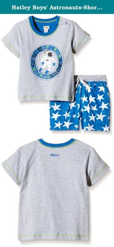 Hatley Boys' Astronauts-Short Playset, Grey, 6-12 Months. Super cool graphic tees make the best tops for spring and summer. Paired with a fun pair of shorts and you have the perfect playtime outfit.