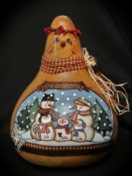 Snowman Gallery - Bev's Hand Crafted Gourds